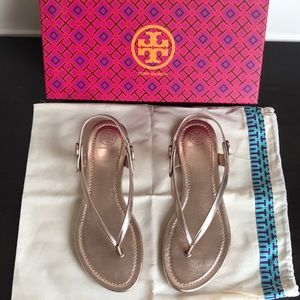 Tory Burch Minnie Travel Sandal Rose Gold - 7.5